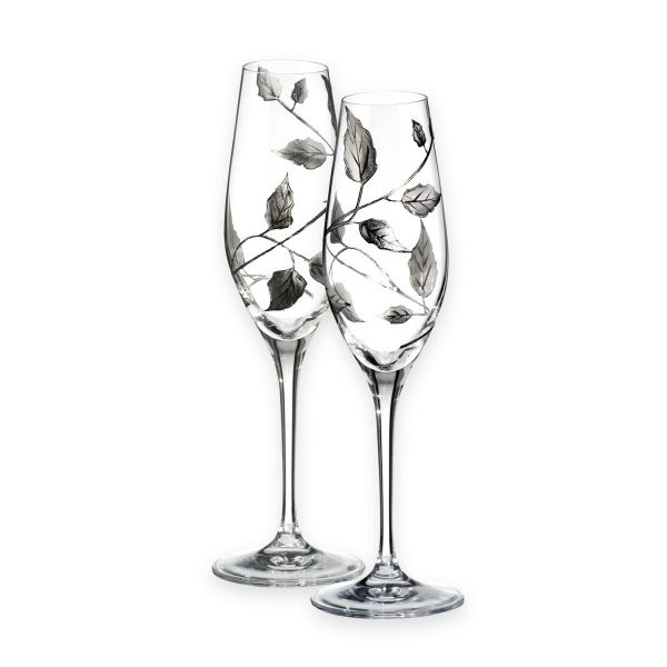Nobile Silver Leaf Champagne Glasses Pair