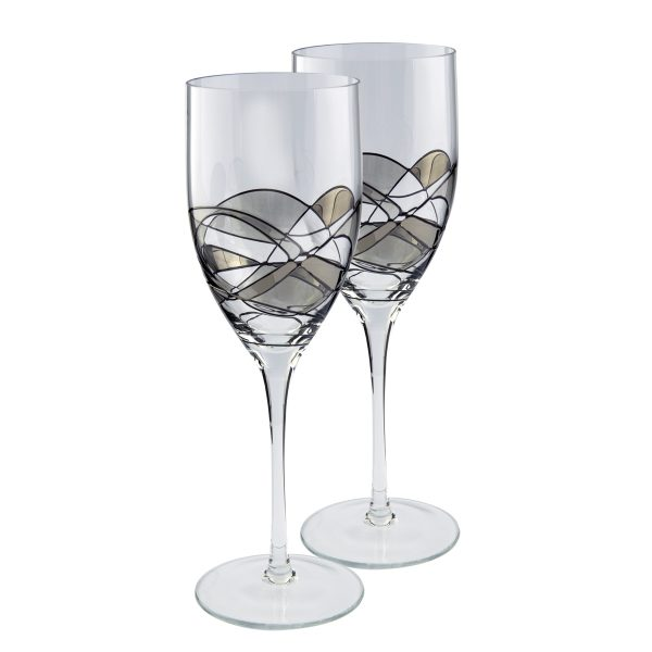Nobile Silver Mosaic Wine Glasses Pair