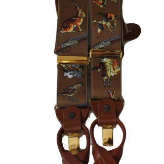 Brown Gun Dog Braces with Leather Tabs and Clips