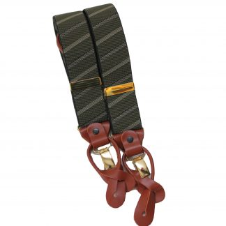 Olive Stripe Braces with Leather Tabs and Clips