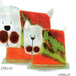 Nobile Fused Glass Dog - Stripe Large Red/Green