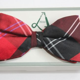 Pre-tied red ramsay bow tie.